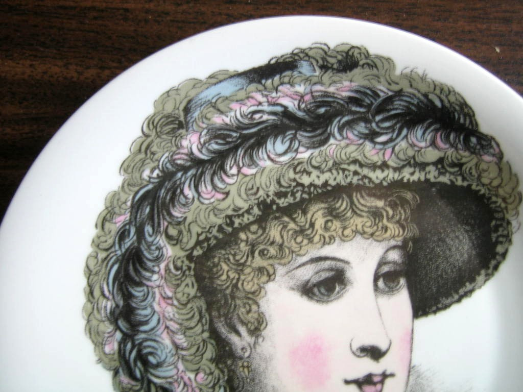 French Feather Victorian Hat Fashion Porcelain Plate Melle Agathe Edge www.DecorativeDishes.net