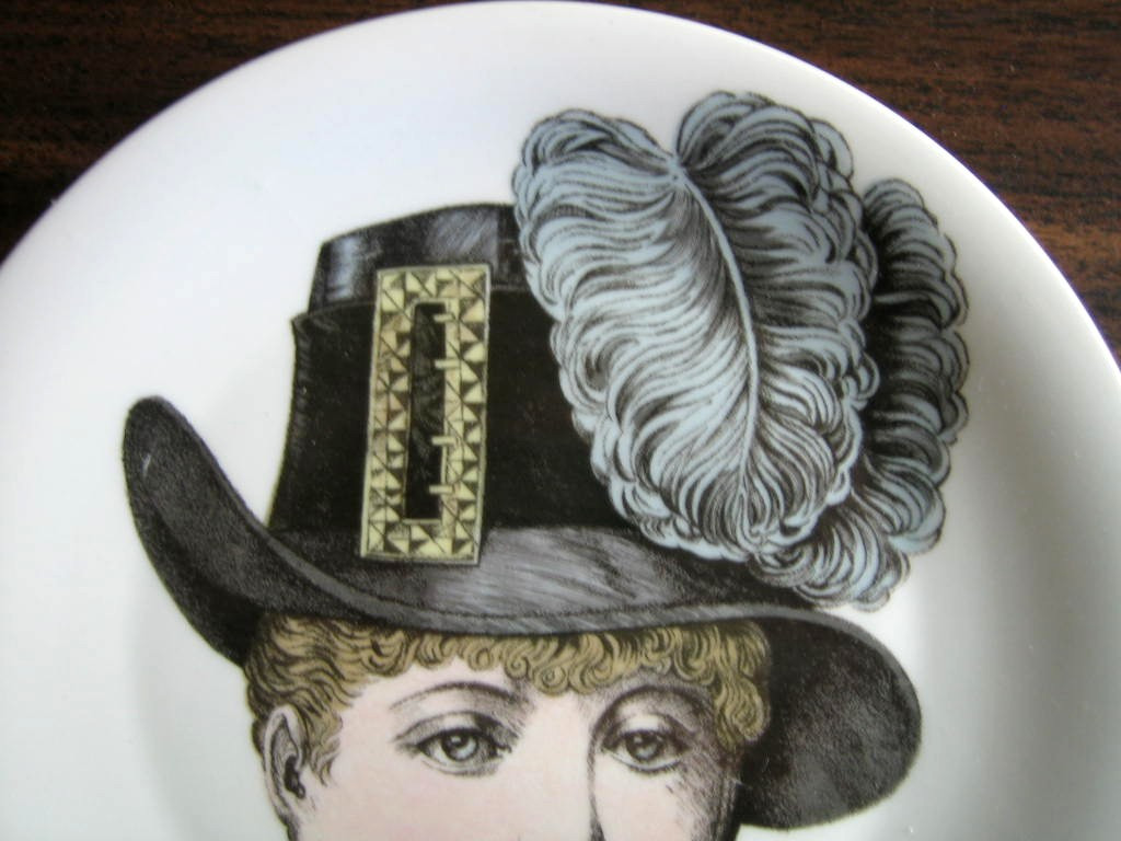 French Buckle Victorian Hat Fashion Porcelain Plate Melle Catherine Edge www.DecorativeDishes.net