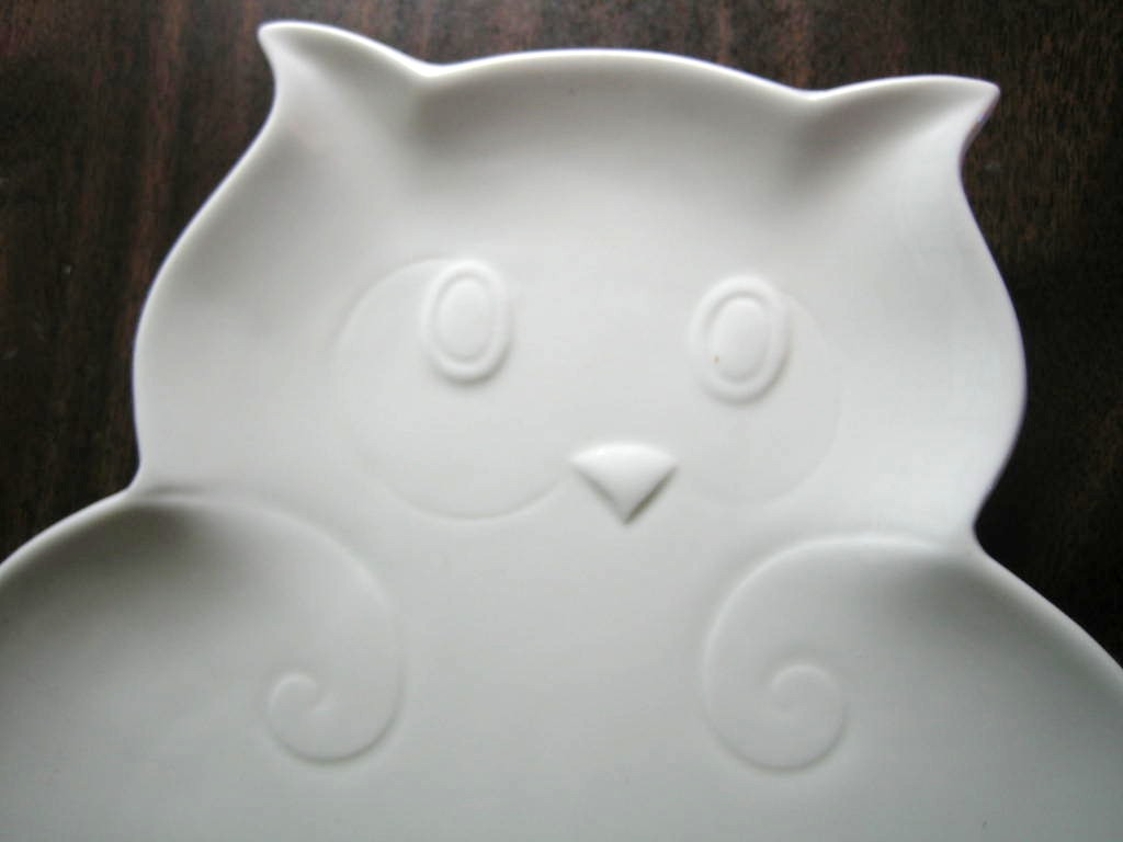 Whimsical White Owl Shaped Textured Platter Serving Dish  Center www.DecorativeDishes.net