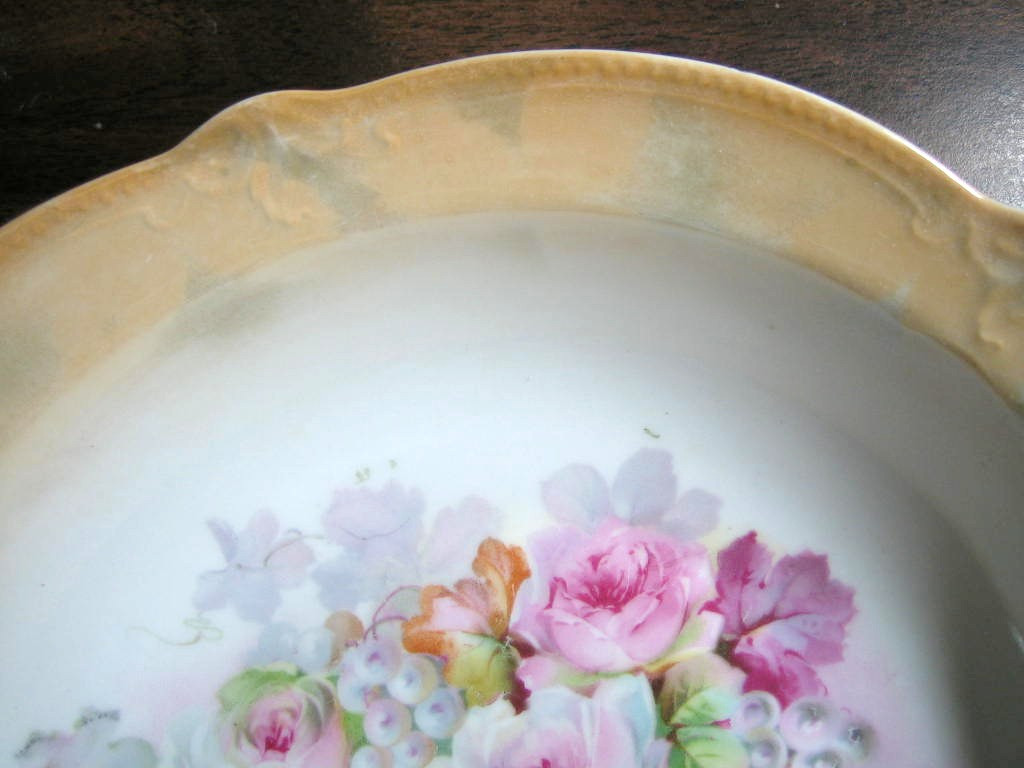 Beautiful German Roses Orange Lustre Porcelain Serving Bowl Edge www.DecorativeDishes.net