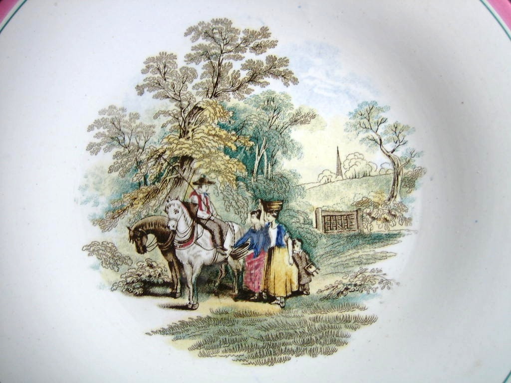 Antique 1870s English Women Horses Pink Edge Pottery Plate Center www.DecorativeDishes.net
