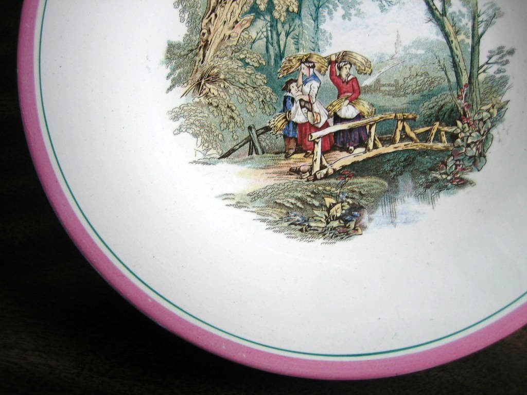 Antique 1870s English Women Bridge Pink Edge Pottery Plate Edge www.DecorativeDishes.net