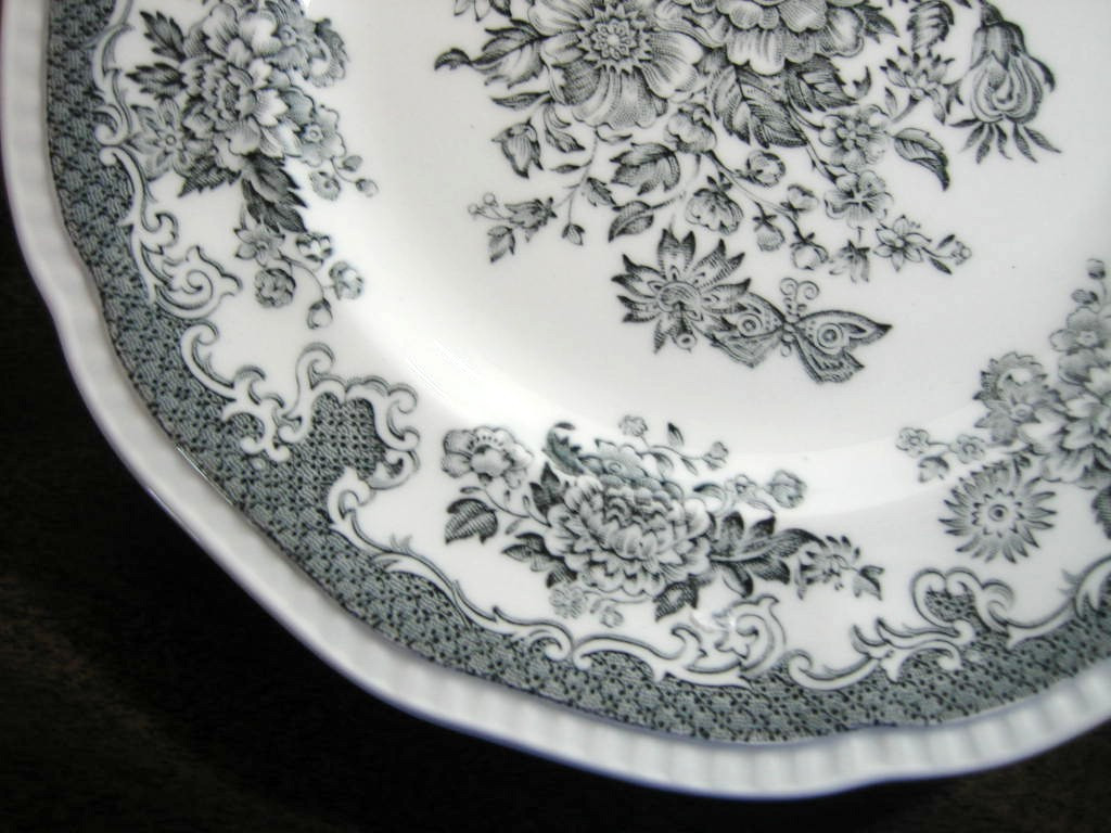 Black Grey Toile Butterfly Mum Poppy Bird Vintage Plate S Edge www.DecorativeDishes.net