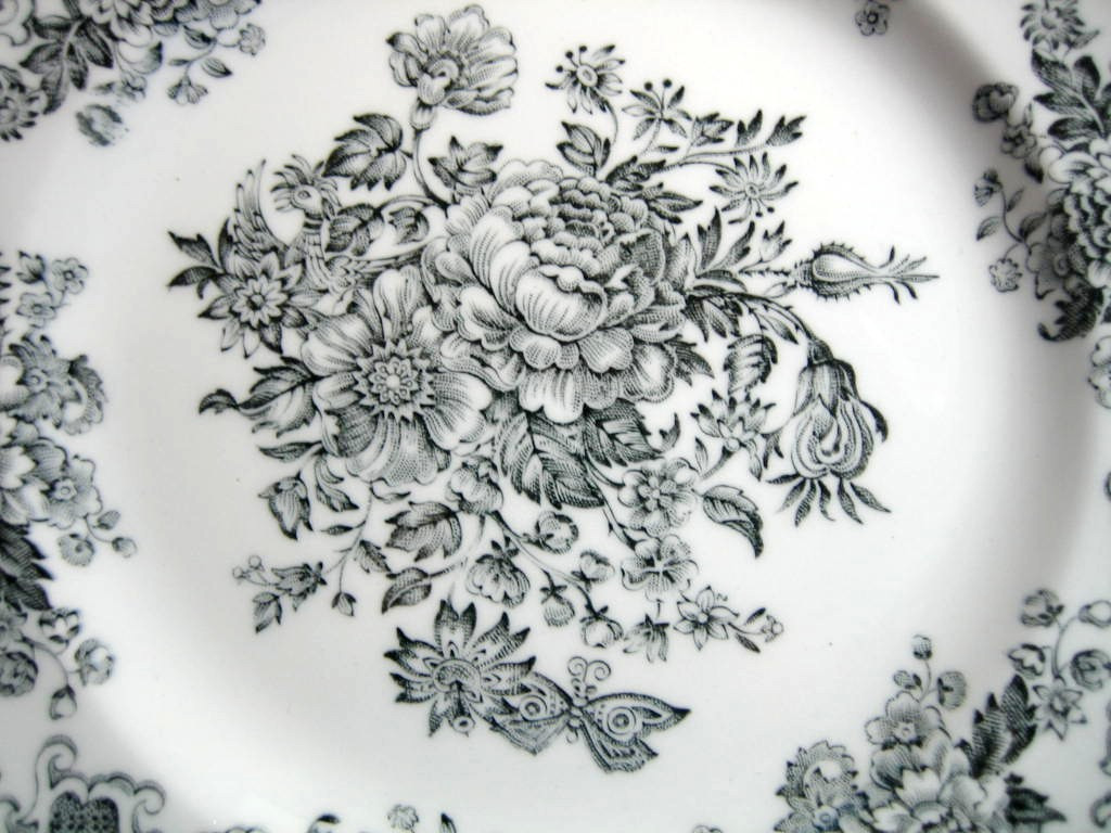 Black Grey Toile Butterfly Mum Poppy Bird Vintage Plate S Center www.DecorativeDishes.net
