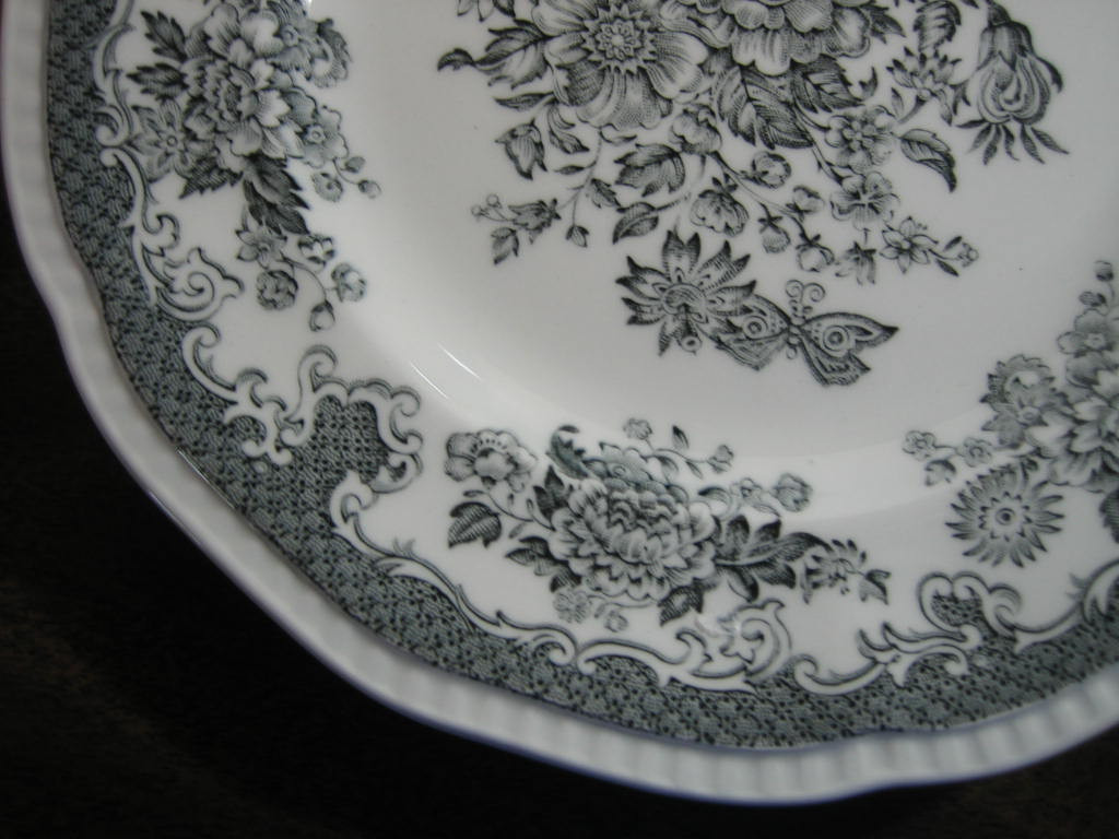 Black Grey Toile Butterfly Mum Poppy Bird Vintage Plate Large Edge www.DecorativeDishes.net