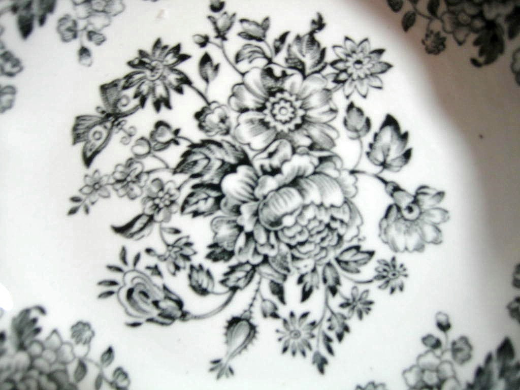 Black Grey Toile Butterfly Mum Poppy Bird Vintage Tiny Trinket Dish Center www.DecorativeDishes.net