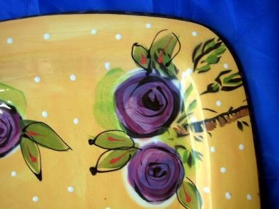 Big Art Pottery Gold Dots Purple Roses Bee Plate Edge www.DecorativeDishes.net