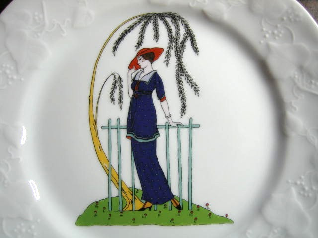 French Art Nouveau Lady Blue Suit Red Hat Fern Plant Plate Center www.DecorativeDishes.net