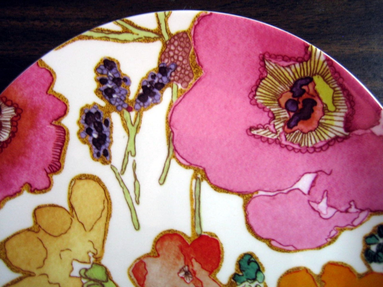 Decorative Plate - Psychedelic Poppy Pink Purple Orange Medium SIze Edge www.DecorativeDishes.net