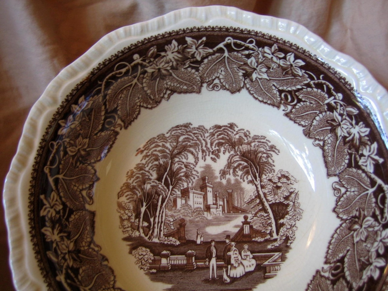 Decorative Bowl - Brown Transferware Exotic Castle Couple Dog Leaves Large Center www.DecorativeDishes.net