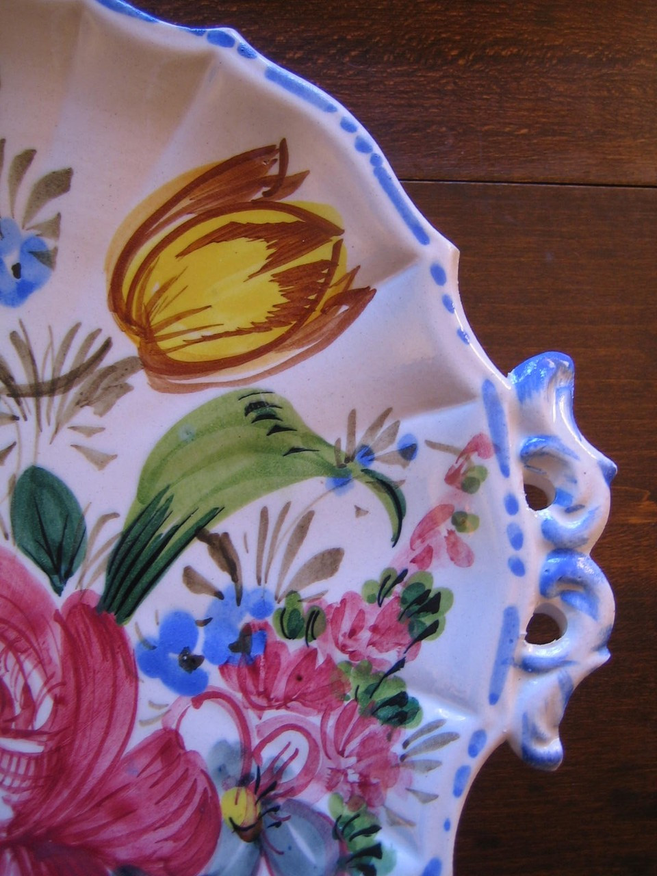 Decorative Platter - Vintage Handpainted in Italy Rose Tulip Fluted Edge Handled Edge www.DecorativeDishes.net
