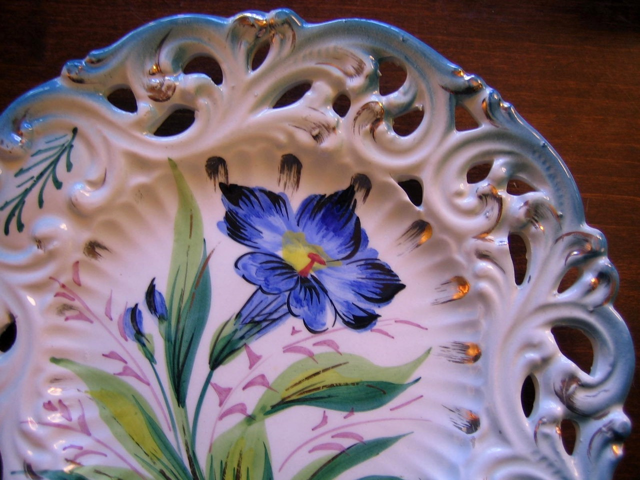 Vintage Decorative Plate - Aqua Pierced Blue Flower Gold Leaf Handpainted in Italy Edge www.DecorativeDishes.net