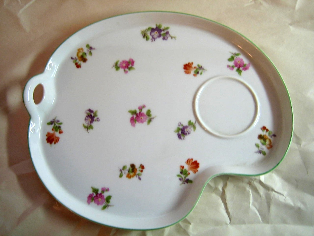 Vintage Nippon Fine China Sweet Flower Cup Tray Snack Tennis Tea Set Center www.DecorativeDishes.net