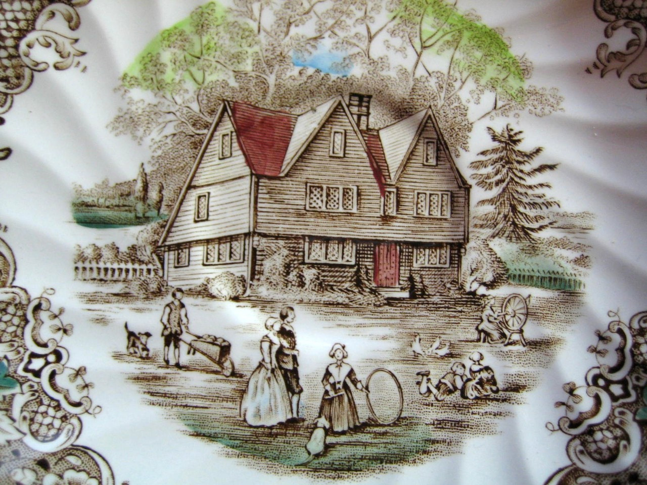 Brown Toile Hand Colored Colonial Children Playing Spinning Cup and Saucer Center www.DecorativeDishes.net