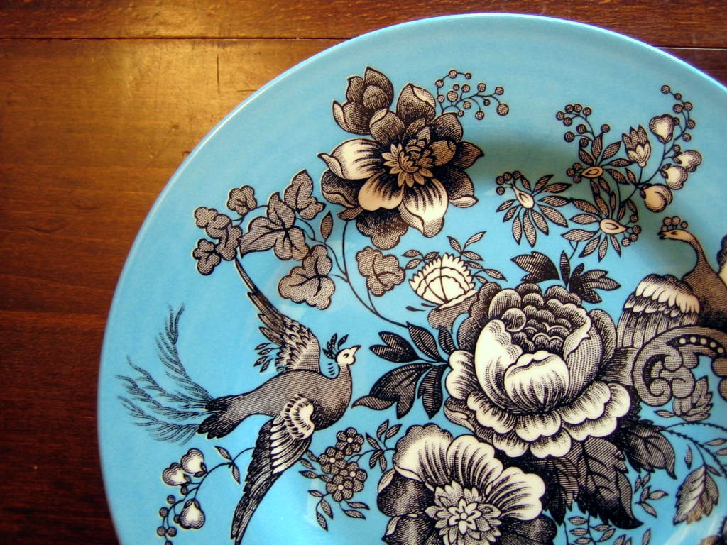 Black White on Blue Exotic Birds Paris Chinoiserie Victorian Plate Center www.DecorativeDishes.net