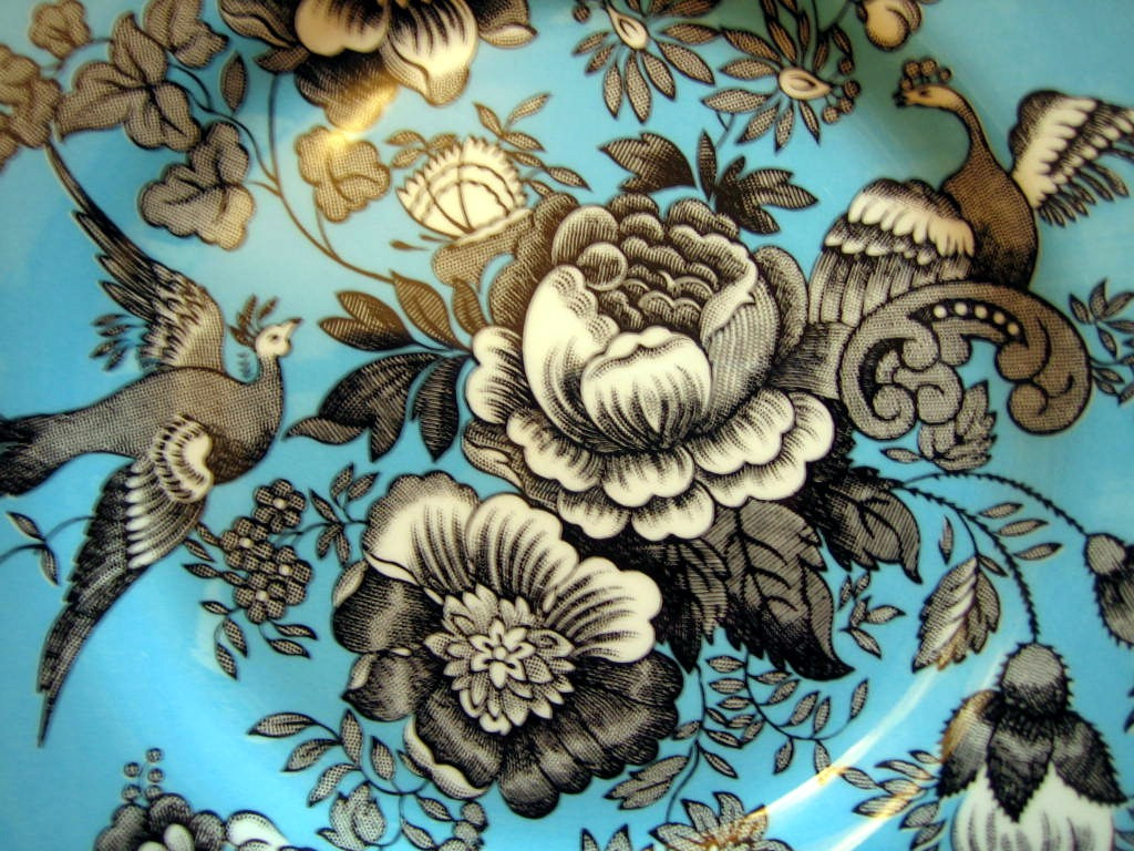 Black White on Blue Exotic Birds Paris Chinoiserie Victorian Plate Edge www.DecorativeDishes.net