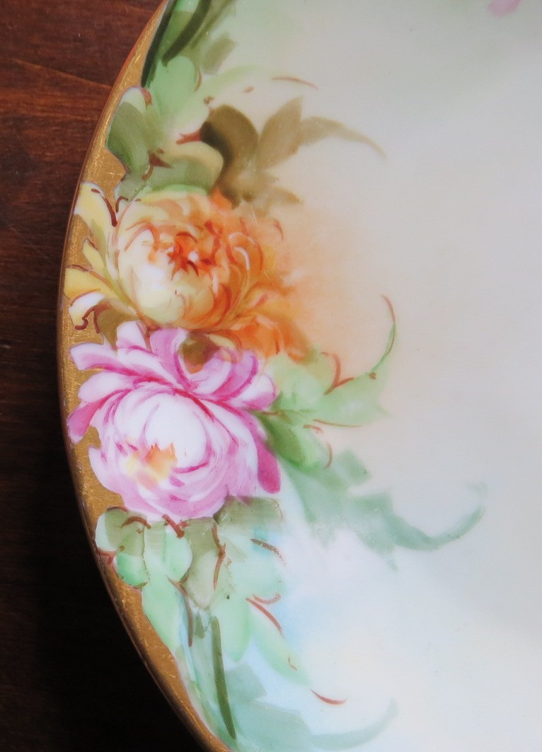 Lovely Hand Painted Peonies Gold Edge Decorative Plate Edge www.DecorativeDishes.net