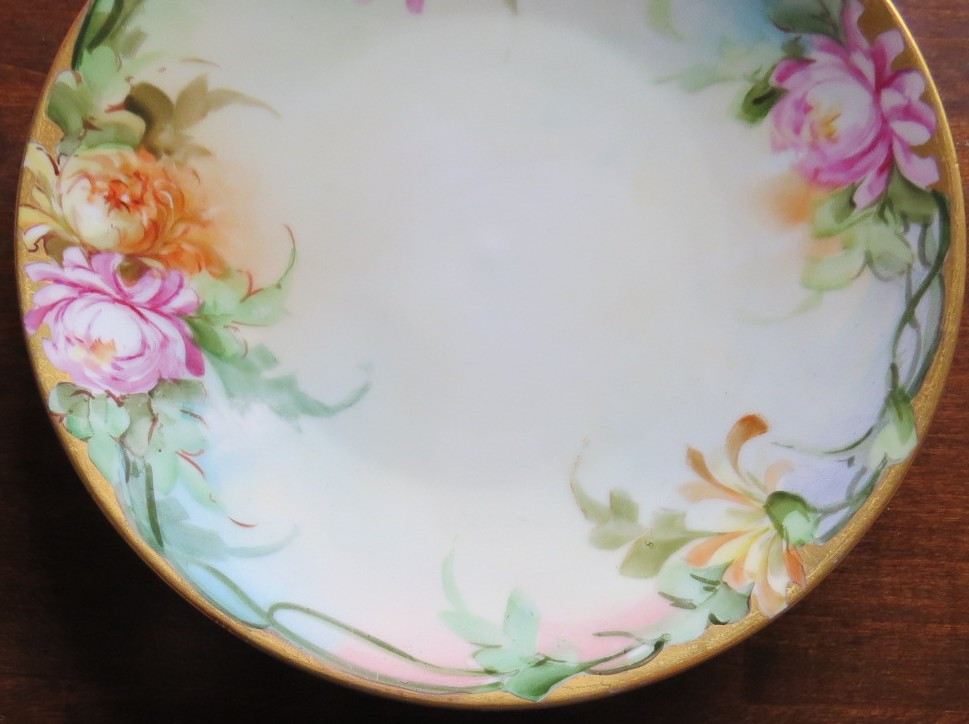 Lovely Hand Painted Peonies Gold Edge Decorative Plate Center www.DecorativeDishes.net