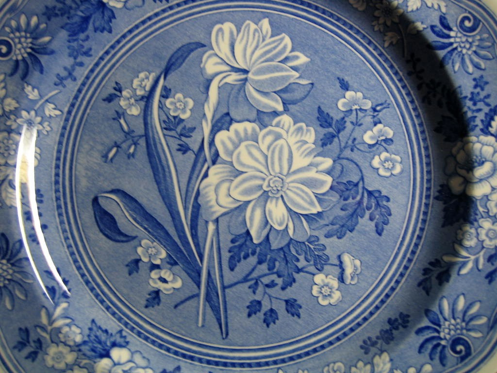 Cobalt Blue Toile Transferware Daffodil Exotic Plate Center www.DecorativeDishes.net