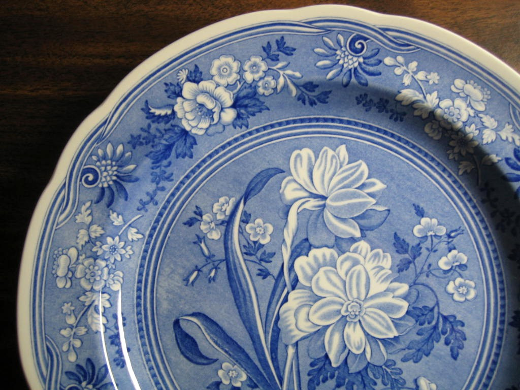 Cobalt Blue Toile Transferware Daffodil Exotic Plate Edge www.DecorativeDishes.net