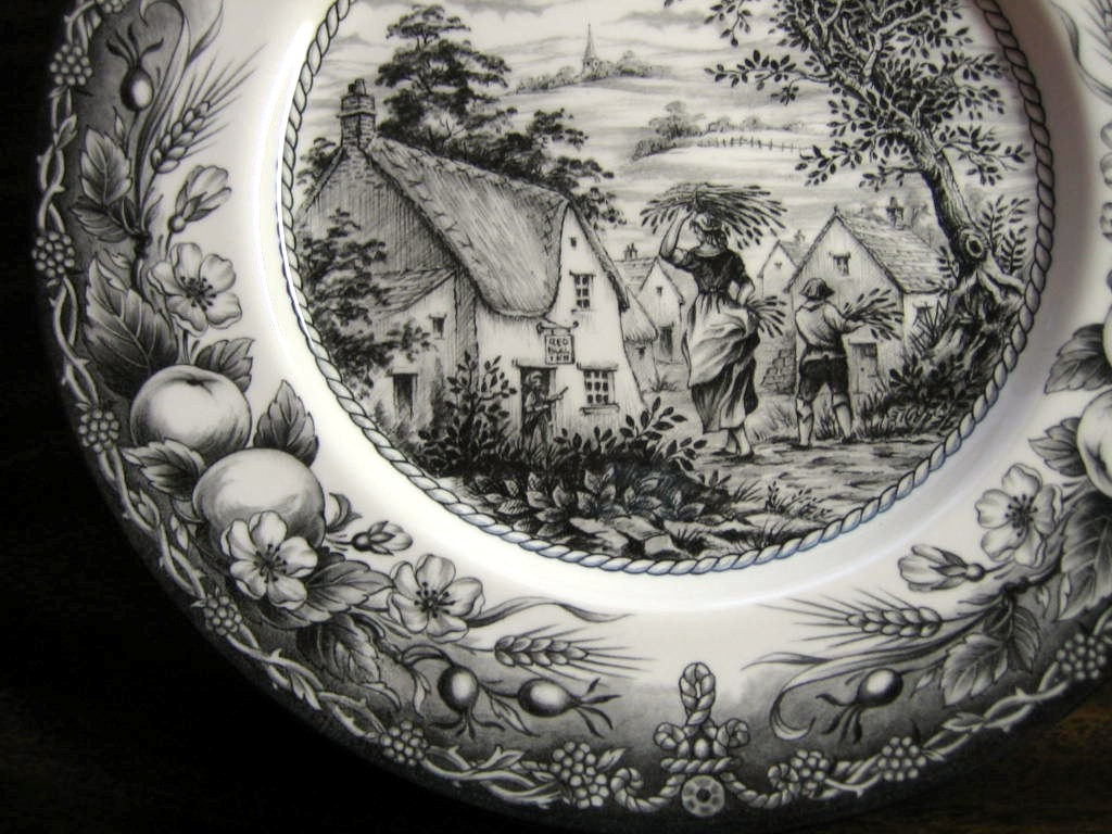 Black Cream Toile Transferware Woman Boy Inn Fruit Plate Center www.DecorativeDishes.net