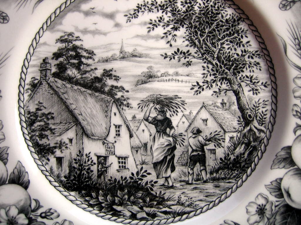 Black Cream Toile Transferware Woman Boy Inn Fruit Plate Edge www.DecorativeDishes.net