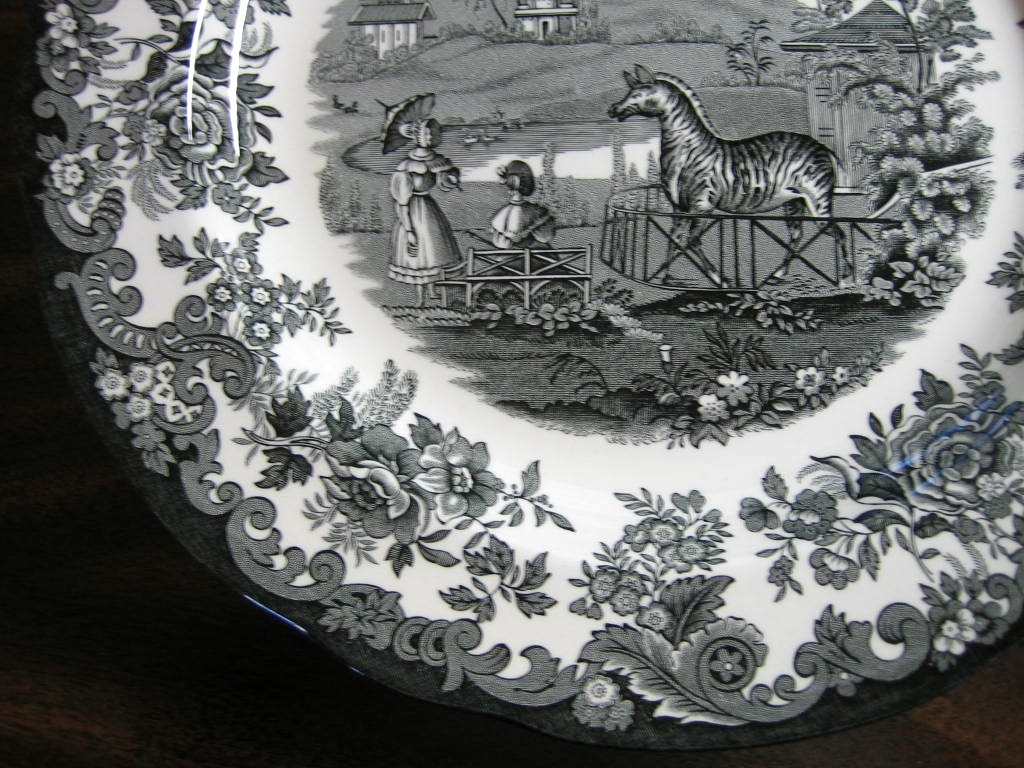 Black White Transferware Toile Victorian Women Parasol Zoo Zebra Plate Edge www.DecorativeDishes.net