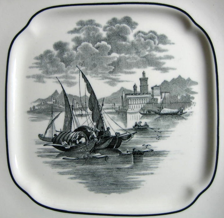 Black White Transferware Venetian Boat Square Handled Plate Center www.DecorativeDishes.net