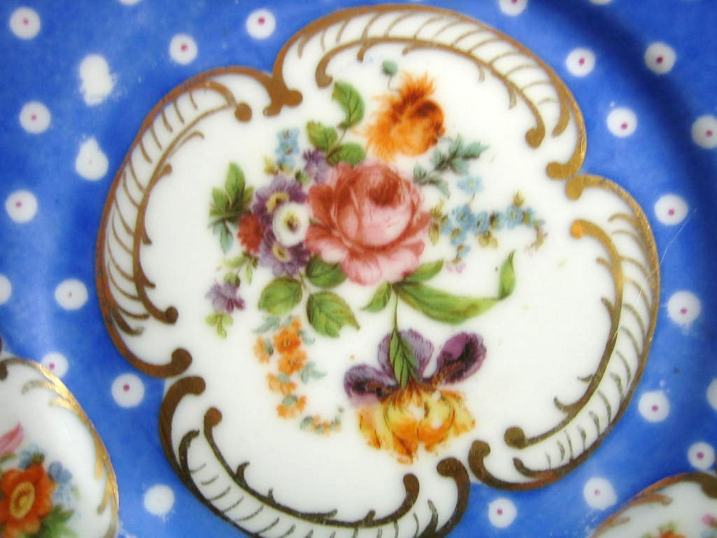 Antique German Hand Painted Blue Gold Roses Plate Center www.DecorativeDishes.net