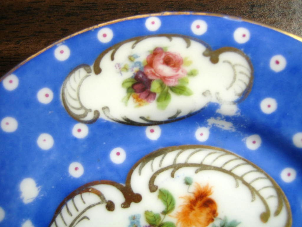 Antique German Hand Painted Blue Gold Roses Plate Edge www.DecorativeDishes.net