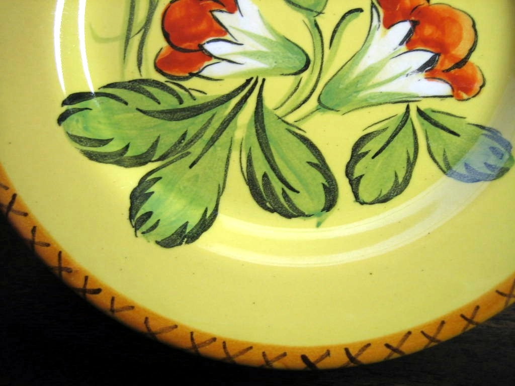 Vintage Hand Painted Red Flowers Green Leaves Gold Italy Plate Edge www.DecorativeDishes.net