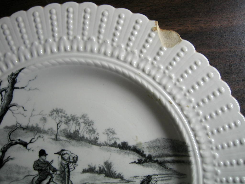 Shabby Black Cream Toile Horses Dogs Hunt Beaded Edge Old Plate Edge www.DecorativeDishes.net