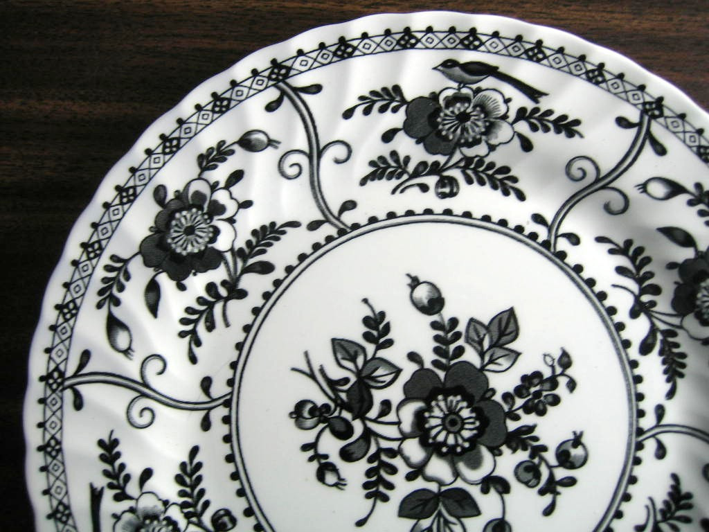 Black on White Exotic Bird Poppy Decorative Euro Style Plate Edge www.DecorativeDishes.net