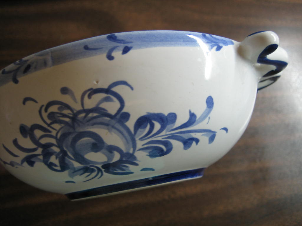Blue White Handled Folk Art Small Hand Painted Portugal Bowl Edge www.DecorativeDishes.net