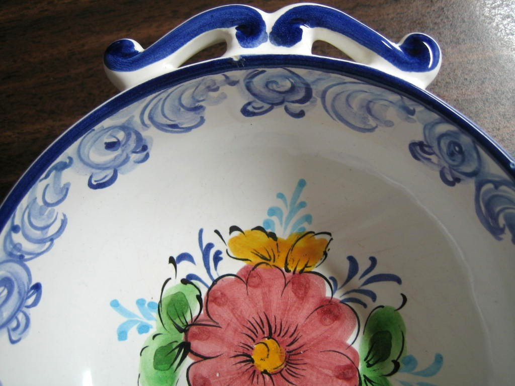 Blue White Handled Folk Art Small Hand Painted Portugal Bowl Center www.DecorativeDishes.net