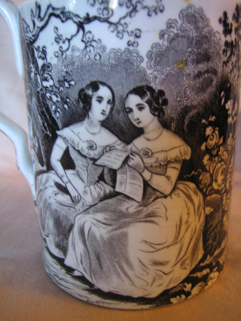Antique Black Transferware Artistic Women Lidded Pot with Spout Edge www.DecorativeDishes.net