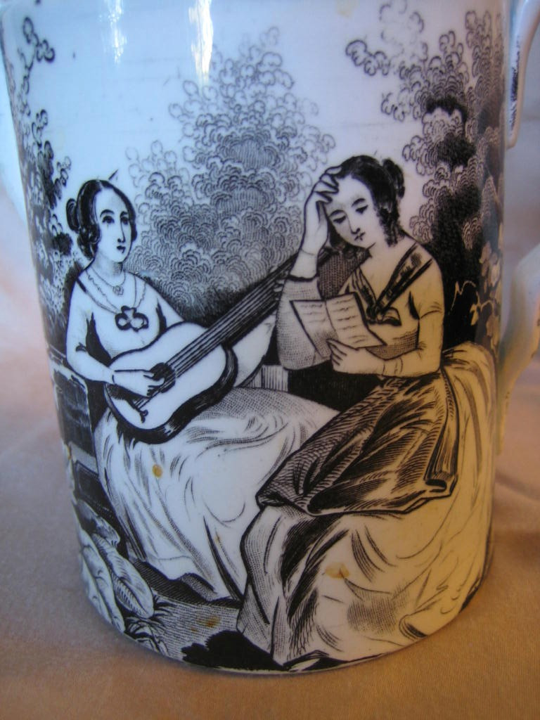 Antique Black Transferware Artistic Women Lidded Pot with Spout Center www.DecorativeDishes.net