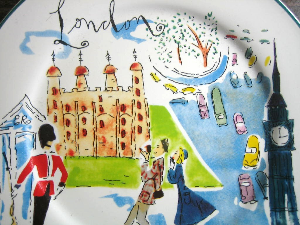 Whimsical London Bridge Big Ben Couple Cartoon Bon Voyage Plate Center www.DecorativeDishes.net