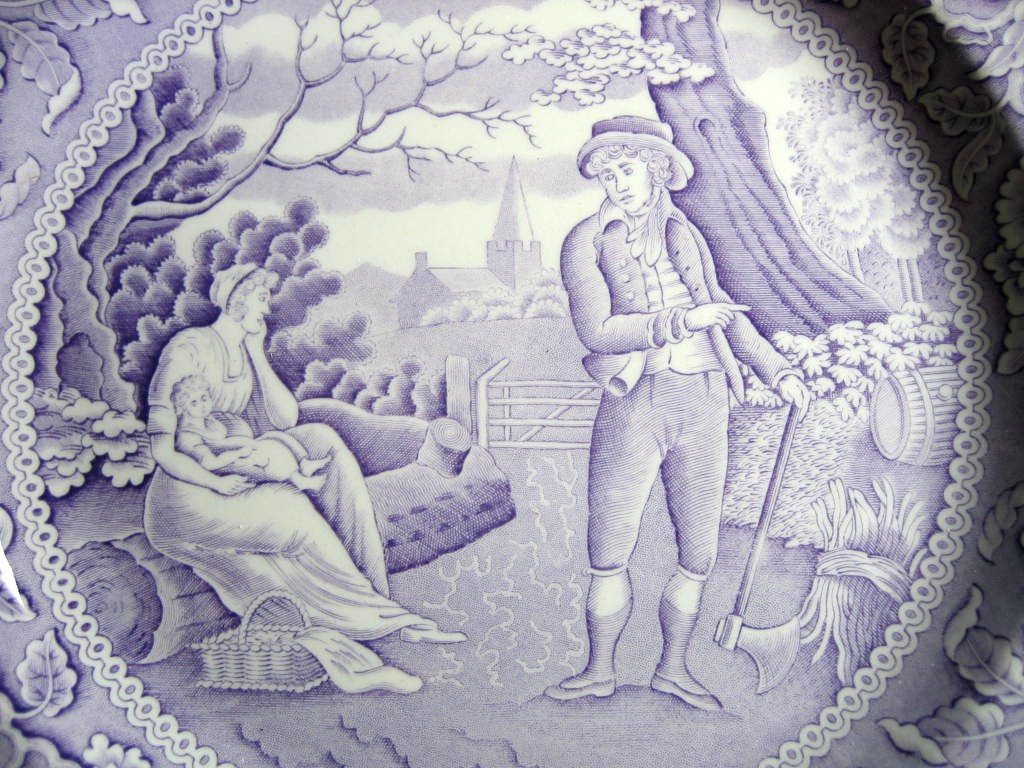 Lavender Purple Toile Transferware Women Baby Calico Plate Center www.DecorativeDishes.net