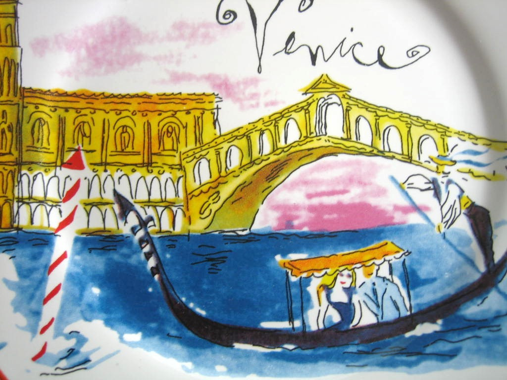 Whimsical Venice Italy Canal Boat Lovers Cartoon Bon Voyage Plate   Center www.DecorativeDishes.net