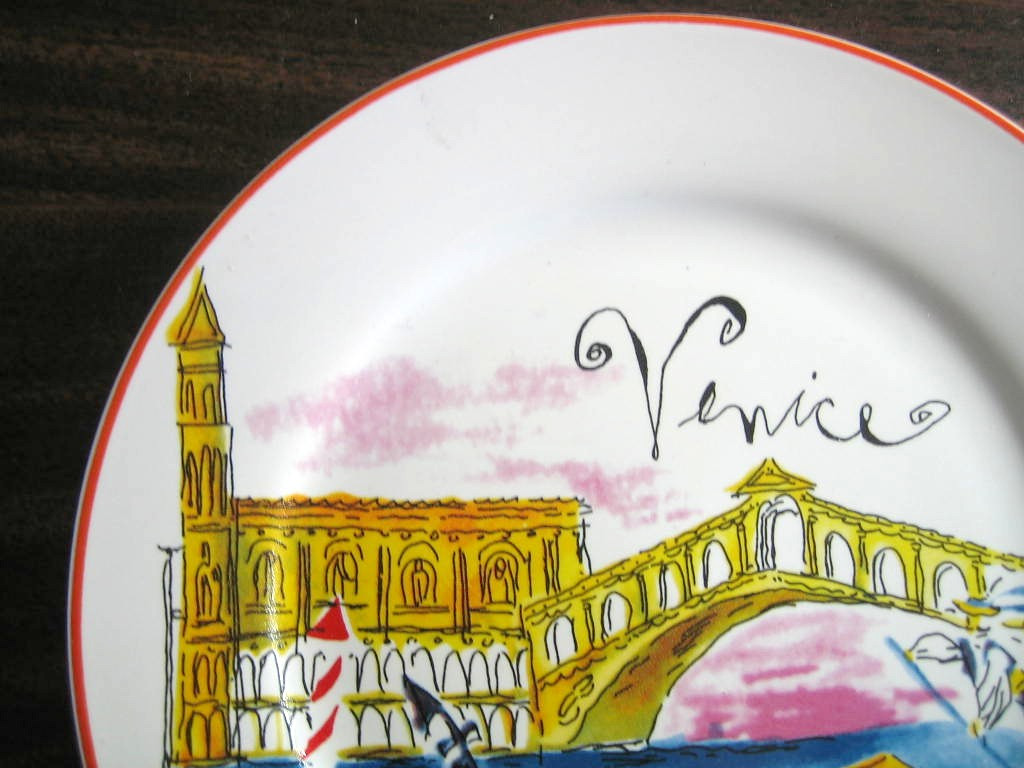 Whimsical Venice Italy Canal Boat Lovers Cartoon Bon Voyage Plate Edge www.DecorativeDishes.net