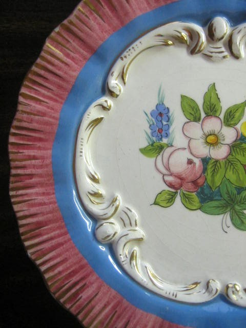 Pink Blue Gold Handpainted Rose Scroll Made in Italy Plate Edge www.DecorativeDishes.net