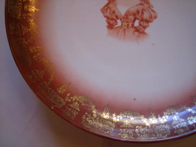Huge 1800s Profile Girl with Bow Gold Trim Decorative Plate Edge www.DecorativeDishes.net