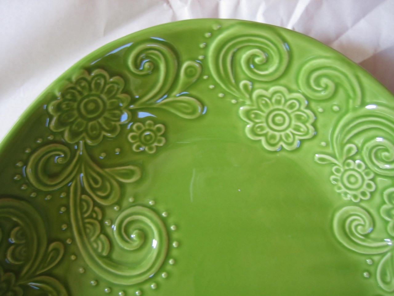Decorative Bowl - Spring Green Huge Textured Scoll Huge Size Oval Center www.DecorativeDishes.net