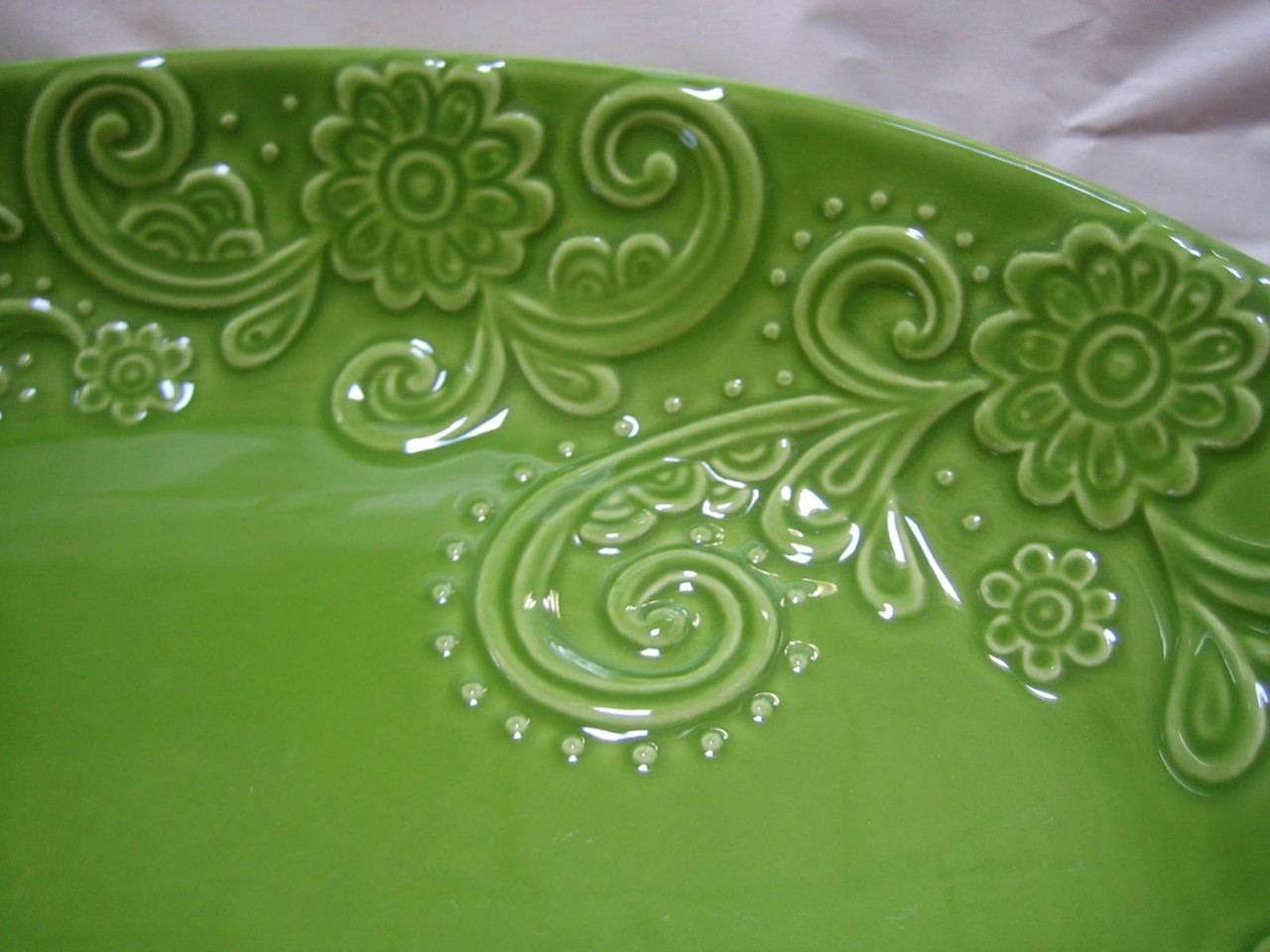Decorative Bowl - Spring Green Huge Textured Scoll Huge Size Oval Edge www.DecorativeDishes.net