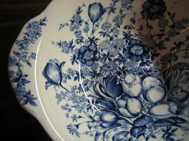 Blue Toile Transferware Tulip Vintage Handled Bowl Edge www.DecorativeDishes.net