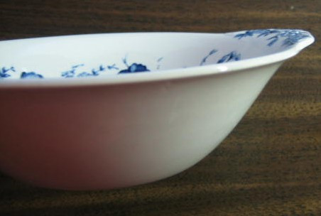 Blue Toile Transferware Tulip Vintage Handled Bowl Center www.DecorativeDishes.net