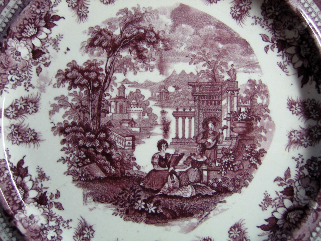 Antique Purple Toile Transferware Couple Mandolin Exotic Plate L Center www.DecorativeDishes.net