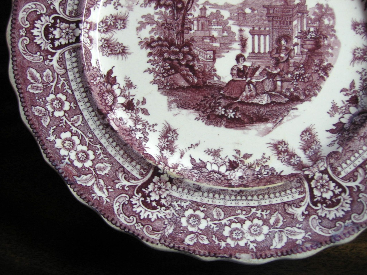 Antique Purple Toile Transferware Couple Mandolin Exotic Plate L Edge www.DecorativeDishes.net