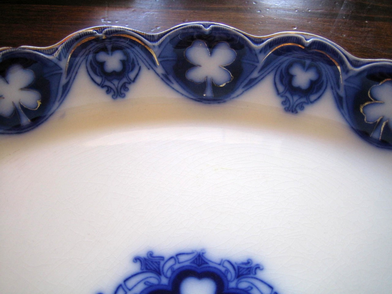 HUGE Flow Blue Shamrock Gold Antique Handled Tray Platter Center www.DecorativeDishes.net